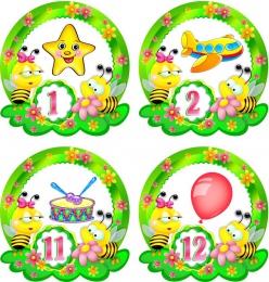Купить Наклейки Пчелки с цифрами 30шт. размер 60*62 мм в России от 204.00 ₽