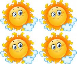 Купить Односторонний фигурный элемент Солнышко для оформления группы детского сада 24 шт. 120*100мм в России от 1431.00 ₽