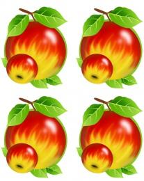 Купить Односторонний фигурный элемент Яблочко для оформления группы детского сада 24 шт. 70*90мм в России от 843.00 ₽