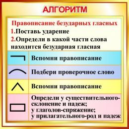 Купить Стенд Алгоритм правописания безударных гласных в золотистых тонах 550*550мм в России от 1080.00 ₽