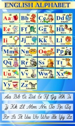 Купить Стенд Английский Алфавит с картинками с синих тонах с прописными буквами 850*500 мм в России от 1517.00 ₽