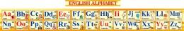 Купить Стенд Английский Алфавит с картинками в желтых тонах горизонтальный 250*2000мм в России от 1940.00 ₽
