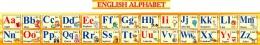 Купить Стенд Английский Алфавит с картинками в желтых тонах  с английской транскрипцией 250*2000мм в России от 1940.00 ₽