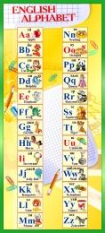 Купить Стенд Английский Алфавит с картинками в жёлто-зелёных тонах 300*660 мм в России от 707.00 ₽