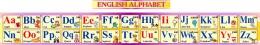 Купить Стенд Английский Алфавит с картинками в золотисто-сиреневых тонах, с таблицей, горизонтальный 250*2000мм в России от 2038.00 ₽