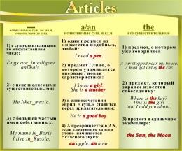 Купить Стенд Articles в кабинет английского языка в золотисто-оливковых тонах 600*500 мм в России от 1128.00 ₽