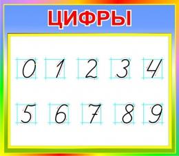 Купить Стенд Цифры для начальной школы в радужных тонах  400*350мм в России от 526.00 ₽