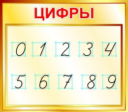 Купить Стенд Цифры для начальной школы в золотистых тонах 400*350мм в России от 526.00 ₽