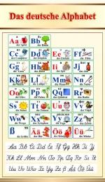Купить Стенд Das deutsche Alphabet  Алфавит с прописными буквами в кабинет немецкого языка в бежево-золотистых тонах 500*850мм в России от 1598.00 ₽