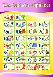 Купить Стенд Das deutsche Alphabet  Алфавит  в кабинет немецкого языка в золотисто-сиреневых тонах 530*770 мм в России от 1457.00 ₽