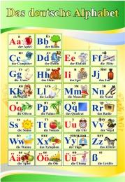 Купить Стенд Das deutsche Alphabet  Алфавит в кабинет немецкого языка желто-зеленый  530*770 мм в России от 1534.00 ₽