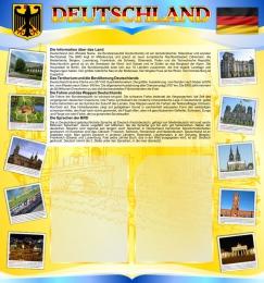 Купить Стенд Deutschland в кабинет немецкого языка на 2 кармана А4 в жёлто-голубых 750*800мм в России от 2416.00 ₽