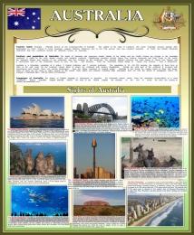 Купить Стенд Достопримечательности Австралии в золотисто-оливковых тонах 700*850 мм в России от 2237.00 ₽