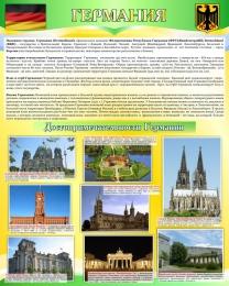 Купить Стенд Достопримечательности Германии в золотисто-зеленых тонах 600*750 мм в России от 1692.00 ₽