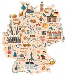 Купить Стенд Достопримечательности и обычаи Германии в виде карты 700*800 мм. в России от 2066.00 ₽