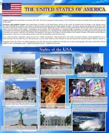 Купить Стенд Достопримечательности США на английском языке в голубых тонах 700*850 мм в России от 2124.00 ₽