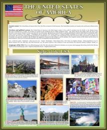 Купить Стенд Достопримечательности США на английском языке в золотисто-оливковых тонах 700*850 мм в России от 2237.00 ₽