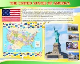 Купить Стенд Достопримечательности США в жёлто-зеленых тонах 1250*1000 мм в России от 4700.00 ₽