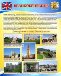 Купить Стенд Достопримечательности Великобритании в голубых тонах  600*750мм в России от 1611.00 ₽