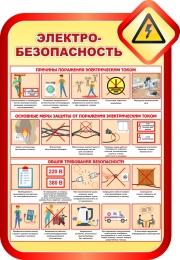 Купить Стенд Электробезопасность в золотисто-красных тонах 690*1000мм в России от 2463.00 ₽