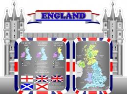 Купить Стенд England для кабинета английского языка 1500*1100 мм в России от 6641.00 ₽