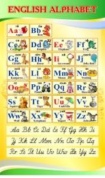Купить Стенд ENGLISH ALPHABET Алфавит с прописными буквами в кабинет английского языка желто-зеленый 500*850 мм в России от 1517.00 ₽