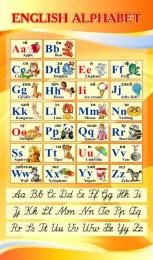 Купить Стенд ENGLISH ALPHABET Алфавит с прописными буквами в кабинет английского языка золотистый 850*500 мм в России от 1517.00 ₽