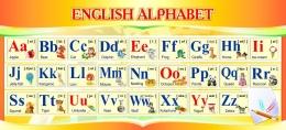 Купить Стенд ENGLISH ALPHABET Алфавит в кабинет английского языка в золотистых тонах 660*300 мм. в России от 707.00 ₽