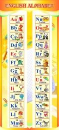Купить Стенд ENGLISH ALPHABET Алфавит в кабинет английского языка золотистый 300*660 мм. в России от 707.00 ₽