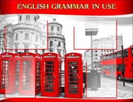 Купить Стенд  English Grammar In Use для кабинета английского языка в красно-серых тонах в стиле Лондон. 970*750 мм в России от 2917.00 ₽