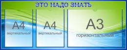Купить Стенд Это надо знать в зелёно-голубых тонах 1000*400 мм. в России от 1738.00 ₽