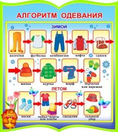 Купить Стенд фигурный Алгоритм одевания для группы Добрые сердца 270*300мм в России от 299.00 ₽