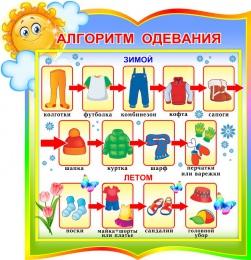 Купить Стенд фигурный Алгоритм одевания для группы Солнышко  300*310мм в России от 343.00 ₽