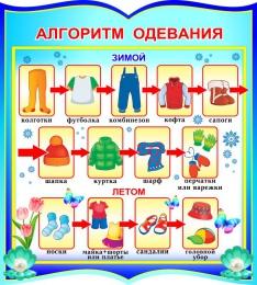 Купить Стенд фигурный Алгоритм одевания для группы Жемчужинка 270*300 мм в России от 315.00 ₽