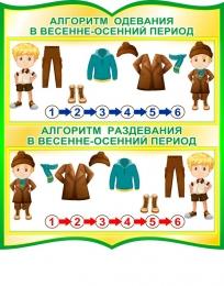 Купить Стенд фигурный Алгоритм одевания в золотисто-зеленых тонах 270*300мм в России от 315.00 ₽