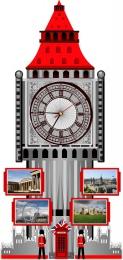 Купить Стенд Фигурный Биг-Бен с часами в красно-серых тонах, размер 400*850 мм в России от 1772.00 ₽