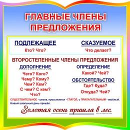 Купить Стенд фигурный Главные члены предложения для начальной школы 550*550 мм в России от 1116.00 ₽