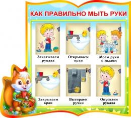 Купить Стенд фигурный Как правильно мыть руки для группы Бельчата 340*300 мм в России от 406.00 ₽