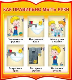 Купить Стенд фигурный как правильно мыть руки для группы Брусничка 270*300 мм в России от 299.00 ₽