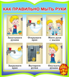 Купить Стенд фигурный Как правильно мыть руки для группы Добрые сердца 270*300мм в России от 299.00 ₽