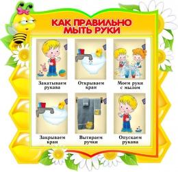 Купить Стенд фигурный Как правильно мыть руки для группы Пчёлка 360*350мм в России от 465.00 ₽
