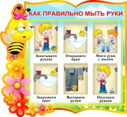 Купить Стенд фигурный Как правильно мыть руки для группы Пчёлки 330*310 мм в России от 428.00 ₽