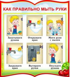 Купить Стенд фигурный Как правильно мыть руки для группы Вишенка 270*300мм в России от 299.00 ₽