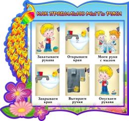 Купить Стенд фигурный Как правильно мыть руки группа Жар-птица  340*310 мм в России от 389.00 ₽
