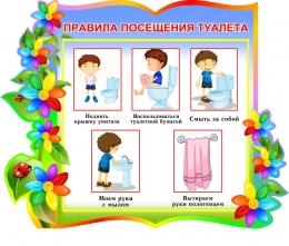 Купить Стенд фигурный Правила посещения туалета для группы Семицветик 380*300мм в России от 421.00 ₽