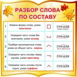 Купить Стенд фигурный Разбор слова по составу для начальной школы в золотистых тонах 550*550 мм в России от 1177.00 ₽
