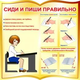 Купить Стенд фигурный Сиди и пиши правильно в золотисто-коричневых тонах 550*550 мм в России от 1116.00 ₽