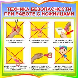 Купить Стенд фигурный Техника безопасности при работе с ножницами для начальной школы в радужных тонах 550*550мм в России от 1116.00 ₽