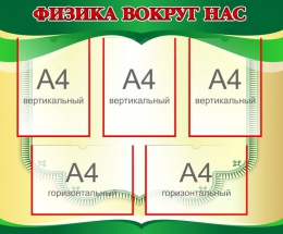 Купить Стенд Физика вокруг нас в золотисто-зелёных тонах 870*720мм в России от 2837.00 ₽