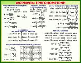 Купить Стенд Формулы Тригонометрии в зеленых тонах 830*650 мм в России от 1926.00 ₽